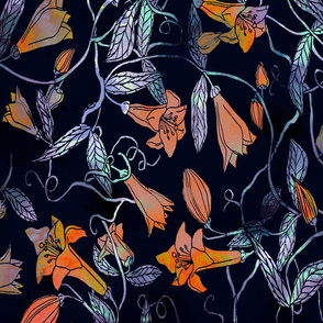 Moody floral in orange and lavender
