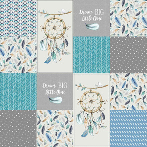 Dream Catcher Patchwork Quilt Top – Dream Big Cheater Quilt Panel, Blue Teal Gray Eggshell