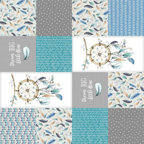 Dream Big Dream Catcher Patchwork Quilt Top ROTATED – Cheater Quilt Panel, Blue Teal Gray