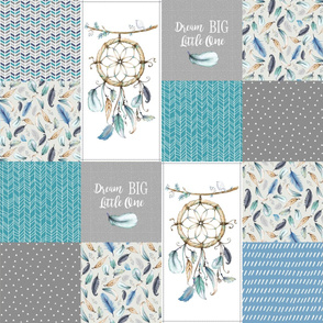 Dream Big Dream Catcher Patchwork Quilt Top – Cheater Quilt Panel, Blue Teal Gray
