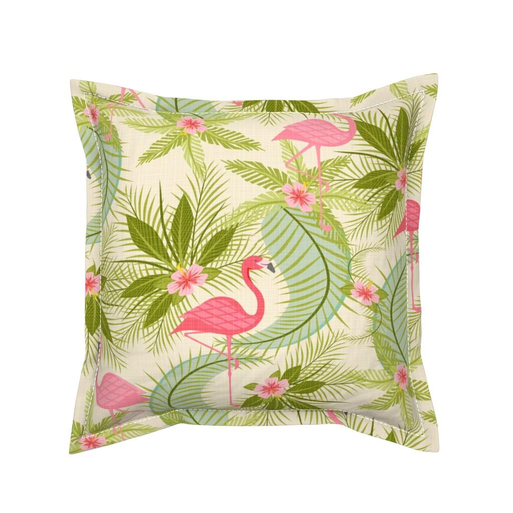 Serama Throw Pillow featuring Flamingo Paradiso by studioxtine