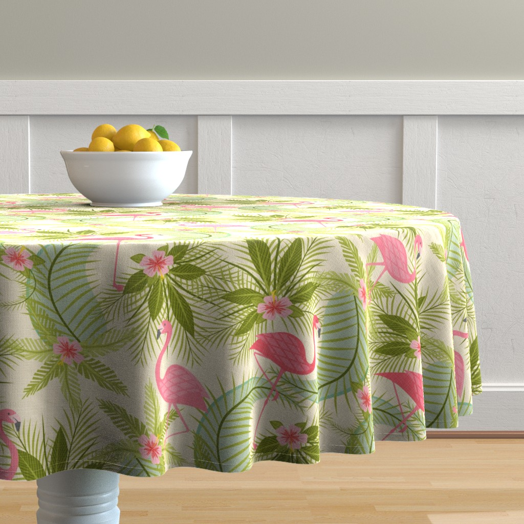 Malay Round Tablecloth featuring Flamingo Paradiso by studioxtine