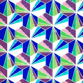 Abstract  hexagons - cool colours