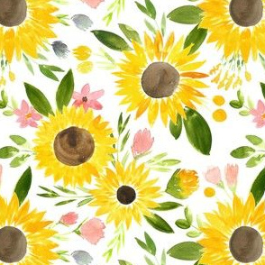 Sweet Sunflowers Field Watercolor Floral - SMALL