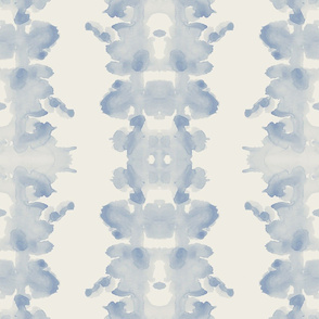 Soft Blue on Cream double inkblot