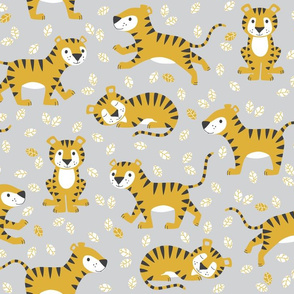 tigers and leaves - grey