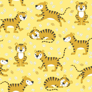 tigers and leaves - yellow