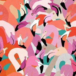 Flamingoes in Spring Hues - SMALL