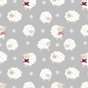 Nursery winter sheep print- grey