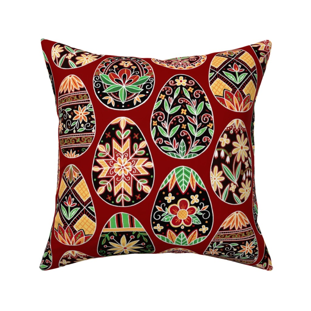 Catalan Throw Pillow featuring Pysanky Floral Red by nikijin