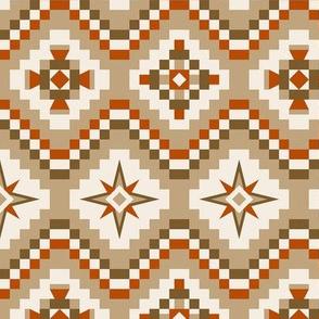 Aztec in brown, burnt orange, tan