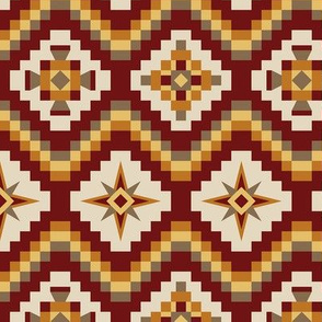 Aztec burgundy, burnt orange, brown, mustard