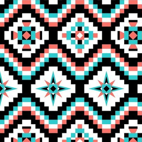 Aztec in coral turquoise and black