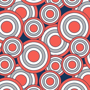 concentric circles navy coral gray white