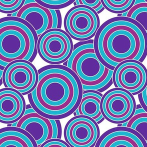 concentric circles purple, magenta, blue on white