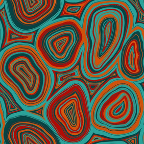Agate Slices - 1970's aqua and red