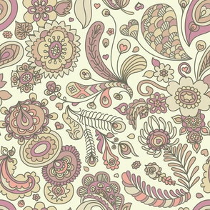 Henna Feather Paisley Modern Pattern