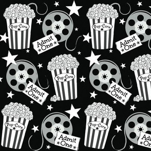 VIP Movie Night / Theater Pop-Corn   starry black and white -small