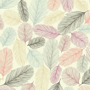 Illustrated Feathers Colorful Line Drawings