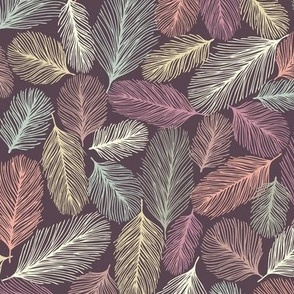Illustrated Feathers Dark Purple