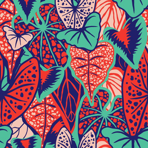 Tropical Foliage (large) - Red/Blue