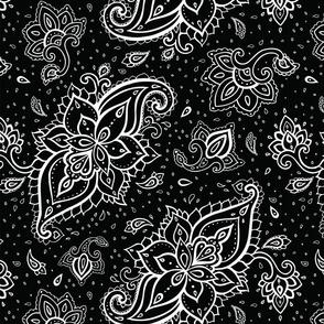 Paisley White Large Print on Black
