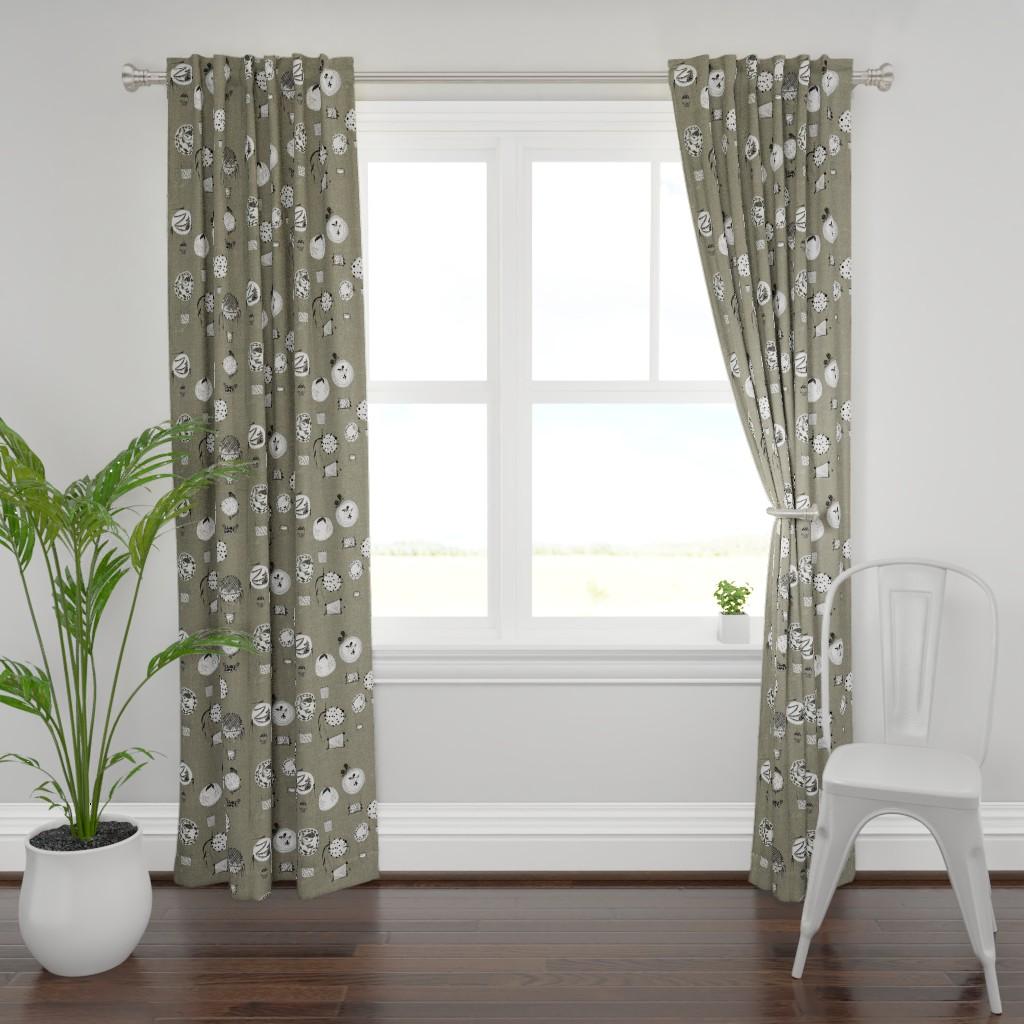 Plymouth Curtain Panel featuring TARTARY HOT AIR RIDES KHAKI by hunnellekari