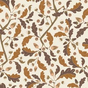 Ornamental Oak Leaves and Acorns brown