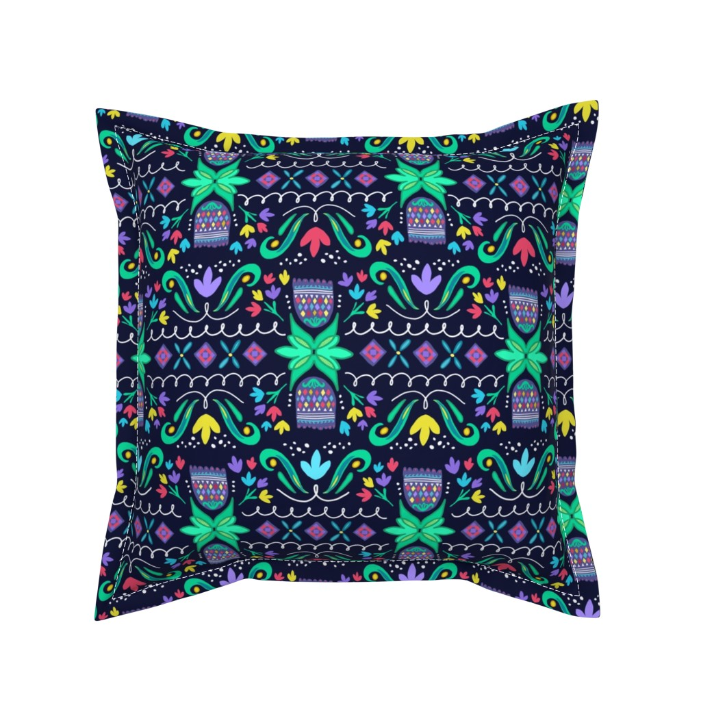 Serama Throw Pillow featuring Pysanky in Bloom by wildnotions