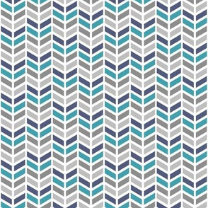 Chevron in Blue, Teal & Gray