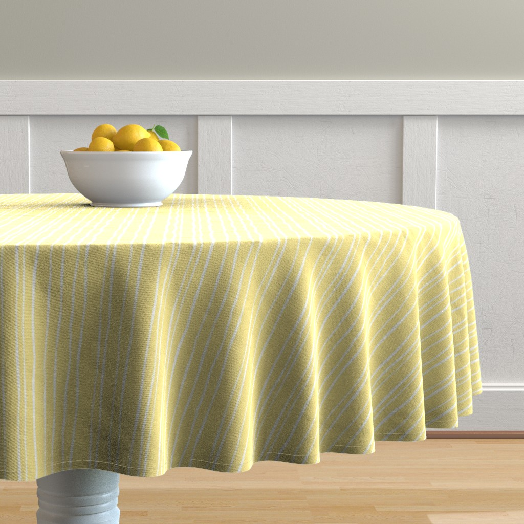 Malay Round Tablecloth featuring Buttercup Stripe - Wide by autumn_musick