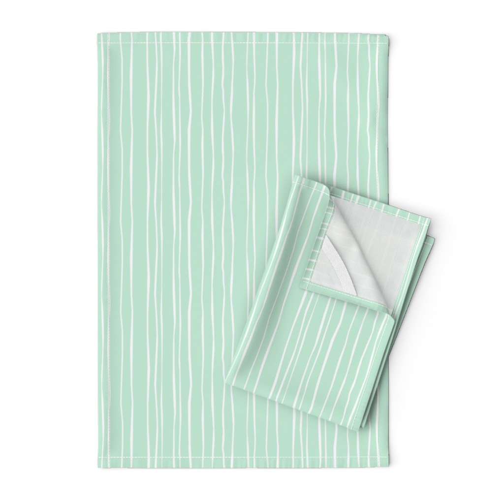 Orpington Tea Towels featuring Mint Stripe - Wide by autumn_musick