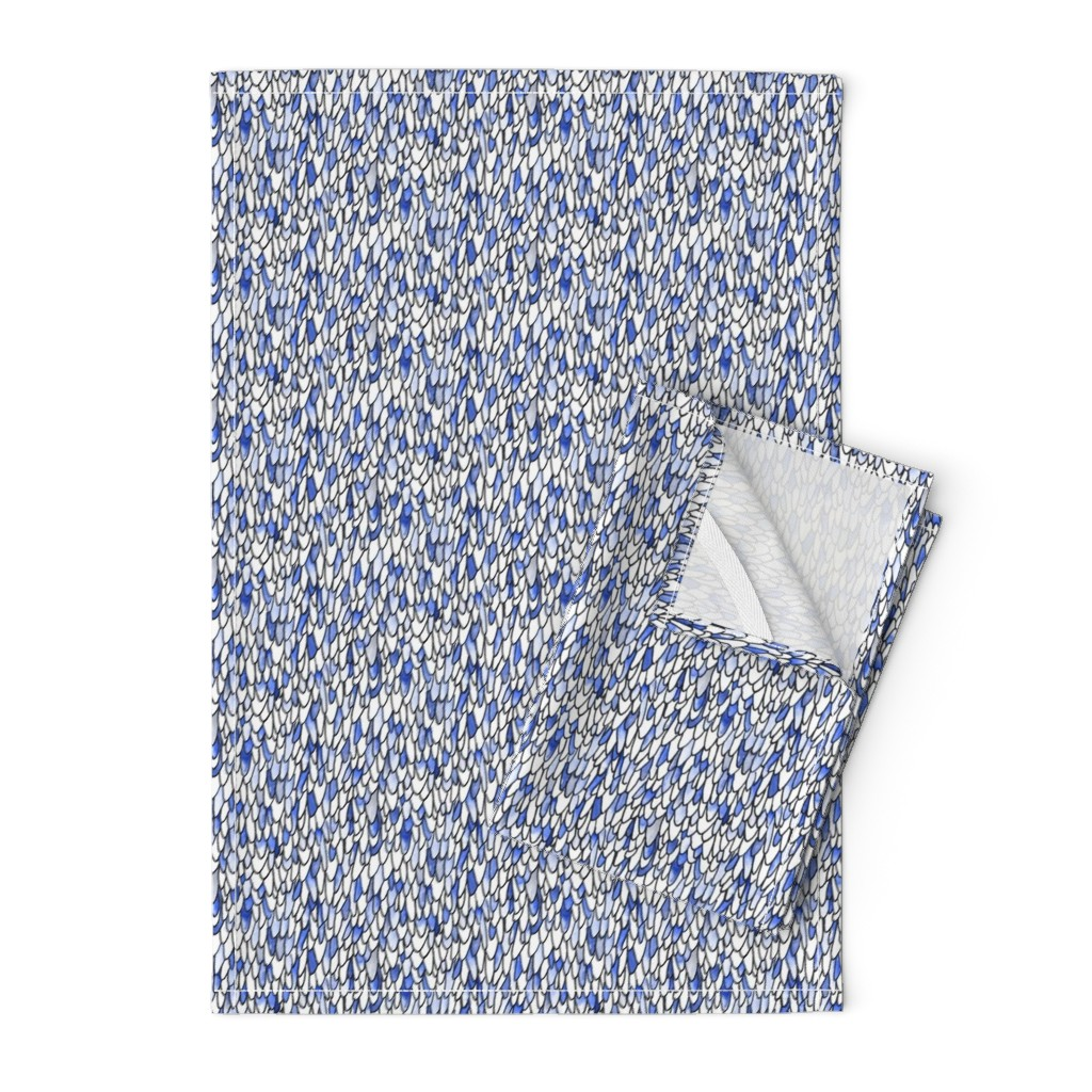 Orpington Tea Towels featuring Feathers and Scales - Monochromatic Blue by autumn_musick