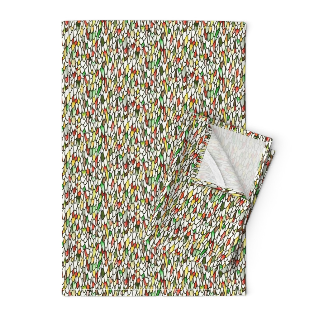 Orpington Tea Towels featuring Feathers and Scales - Earthy Rainbow by autumn_musick
