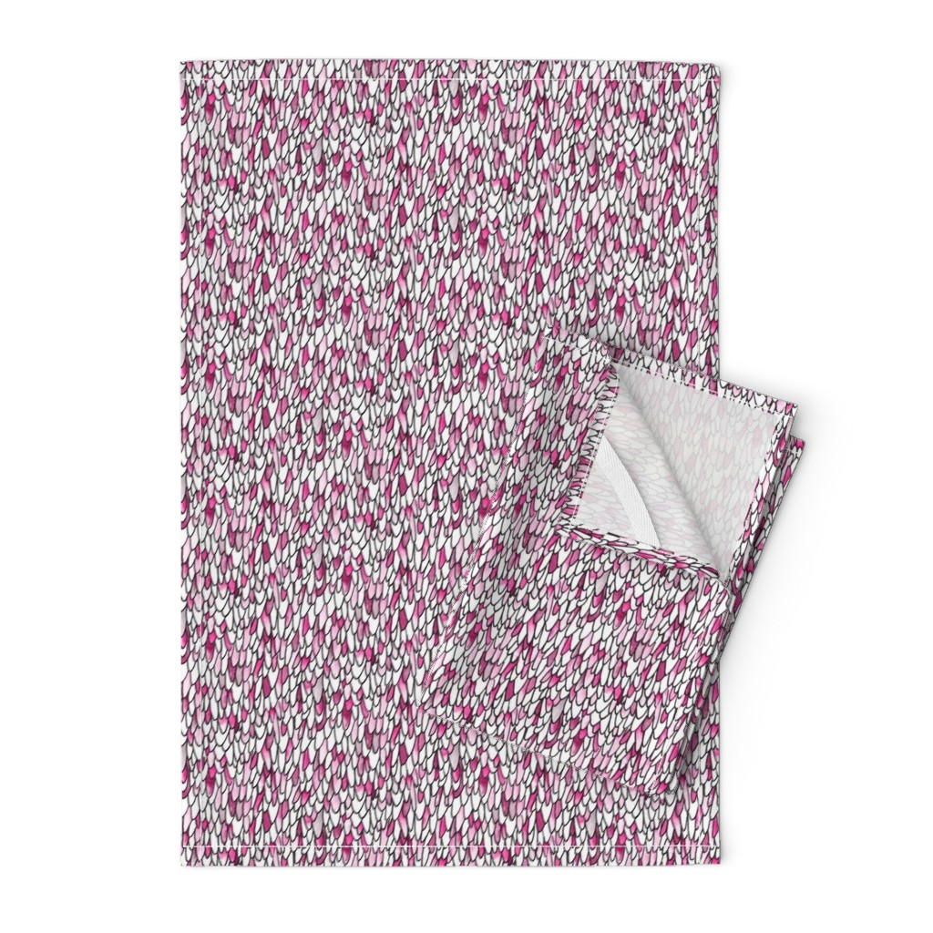 Orpington Tea Towels featuring Feathers and Scales - Pink by autumn_musick