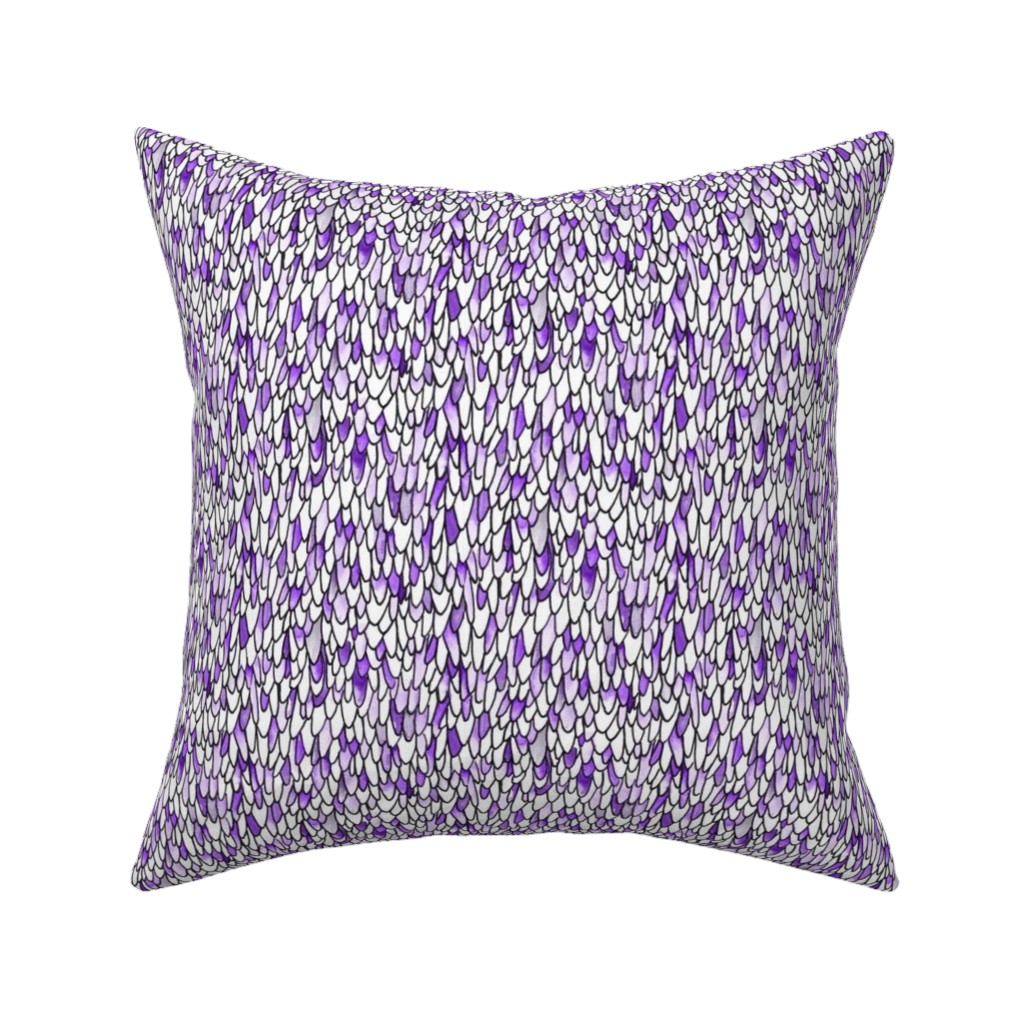 Catalan Throw Pillow featuring Feathers and Scales - Purple by autumn_musick