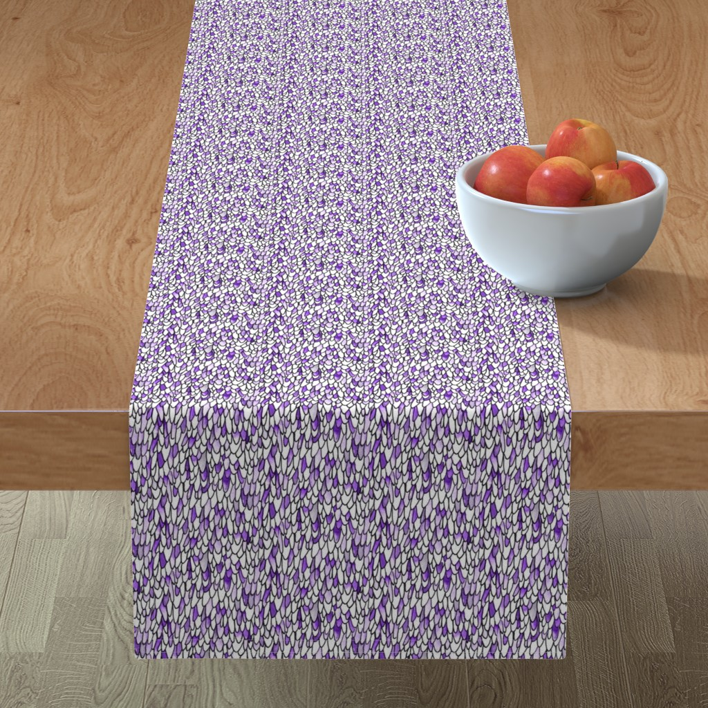 Minorca Table Runner featuring Feathers and Scales - Purple by autumn_musick