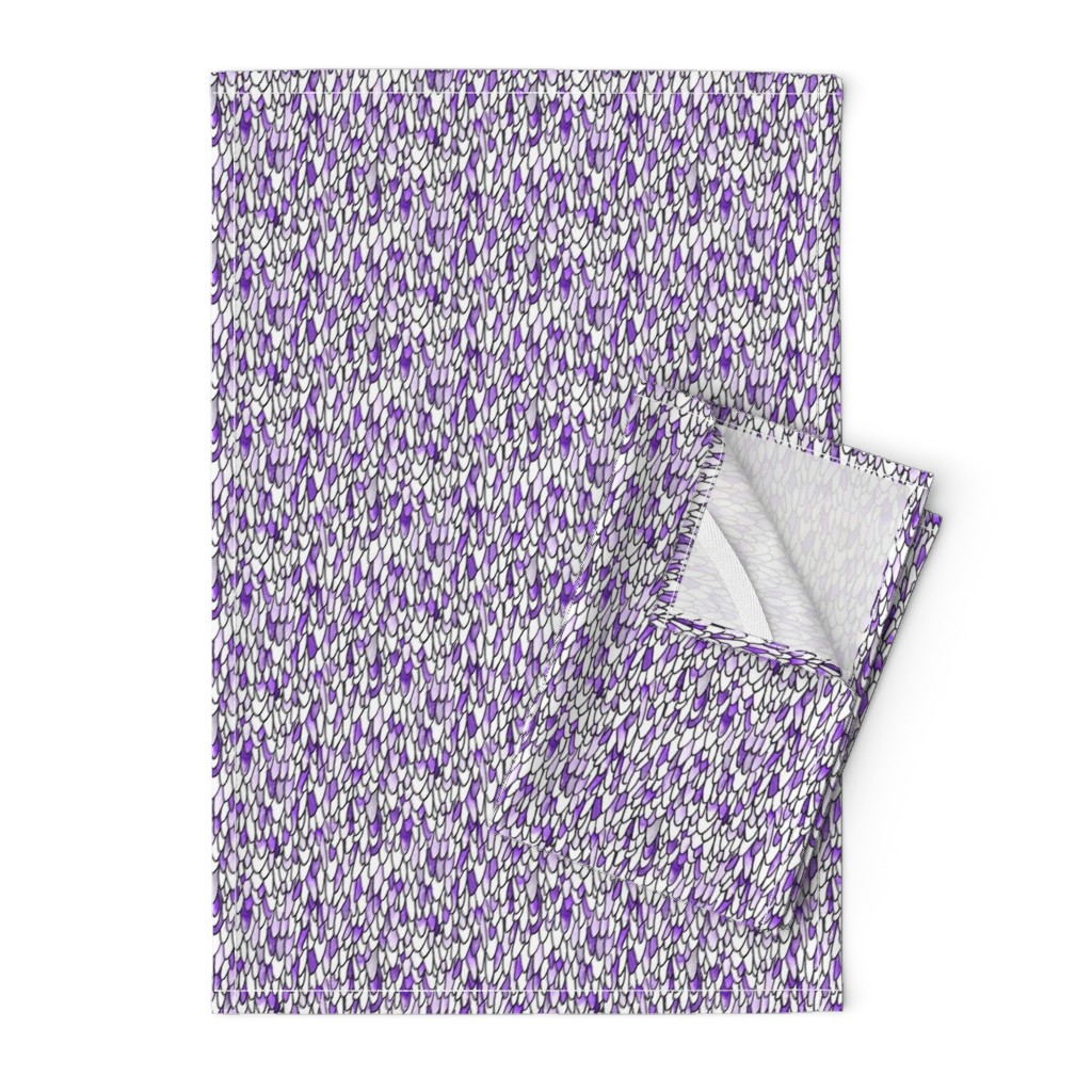 Orpington Tea Towels featuring Feathers and Scales - Purple by autumn_musick