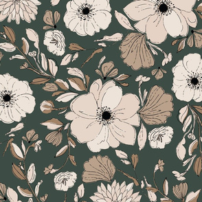 POPPY-PEONIES-GREEN-COPPER JUMBO