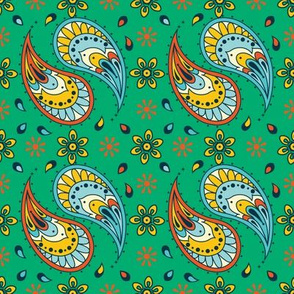 Gorgeous Green Paisley Floral Drops