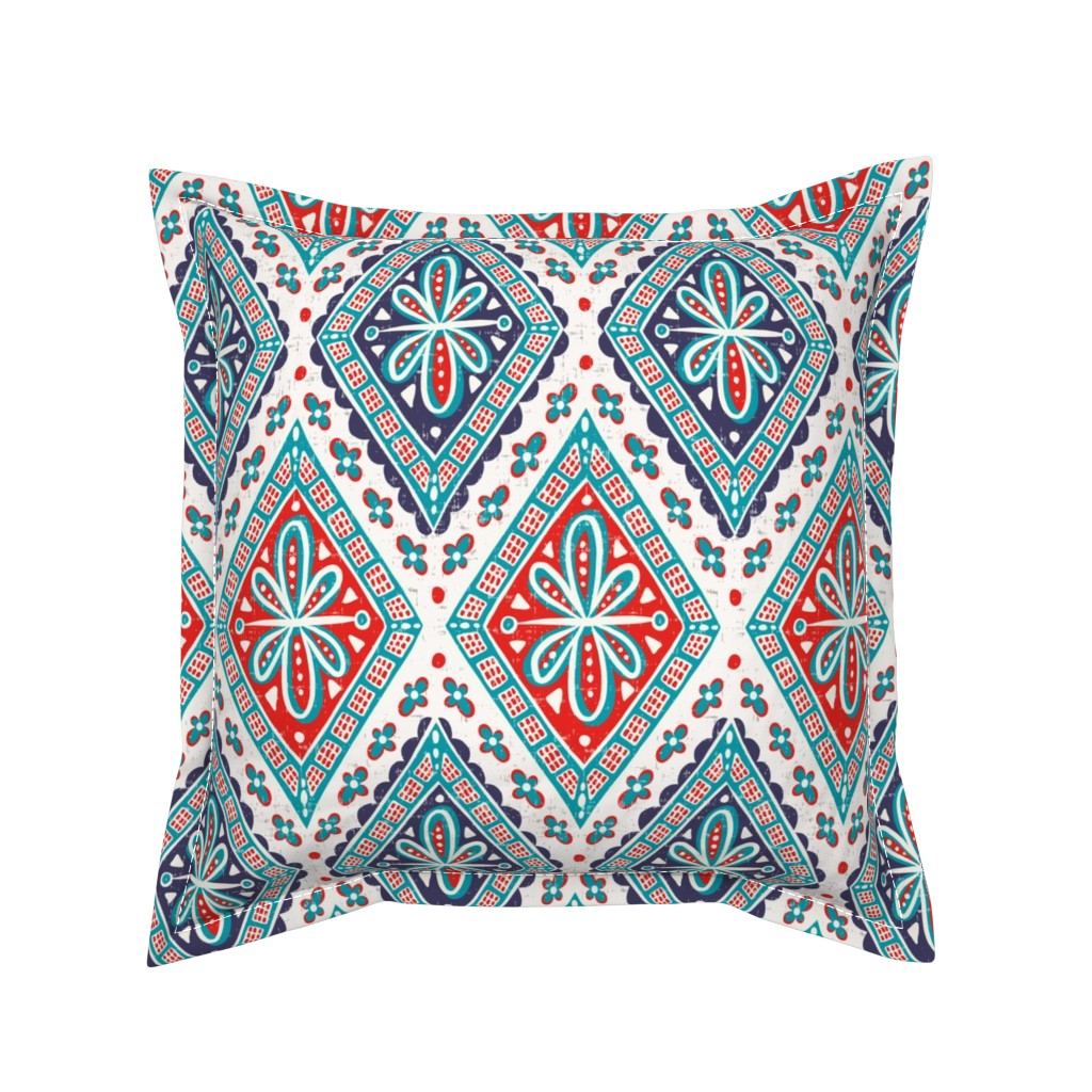 Serama Throw Pillow featuring Skye - Geometric Flame & Plum Large Scale by heatherdutton