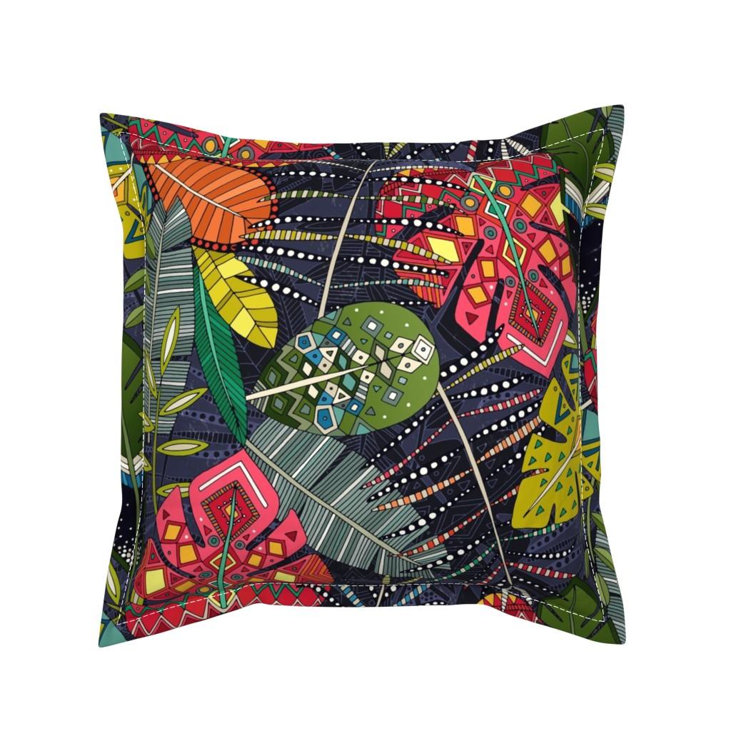 Serama Throw Pillow featuring boho hojas midnight by scrummy