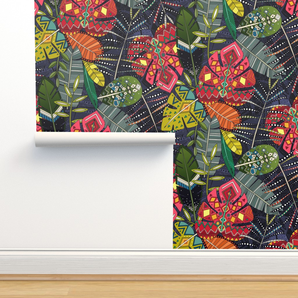 Isobar Durable Wallpaper featuring boho hojas midnight by scrummy