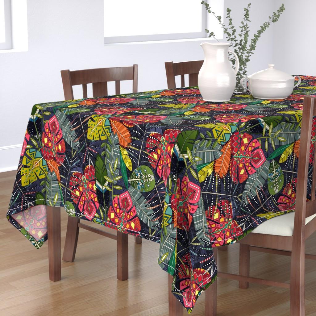 Bantam Rectangular Tablecloth featuring boho hojas midnight by scrummy