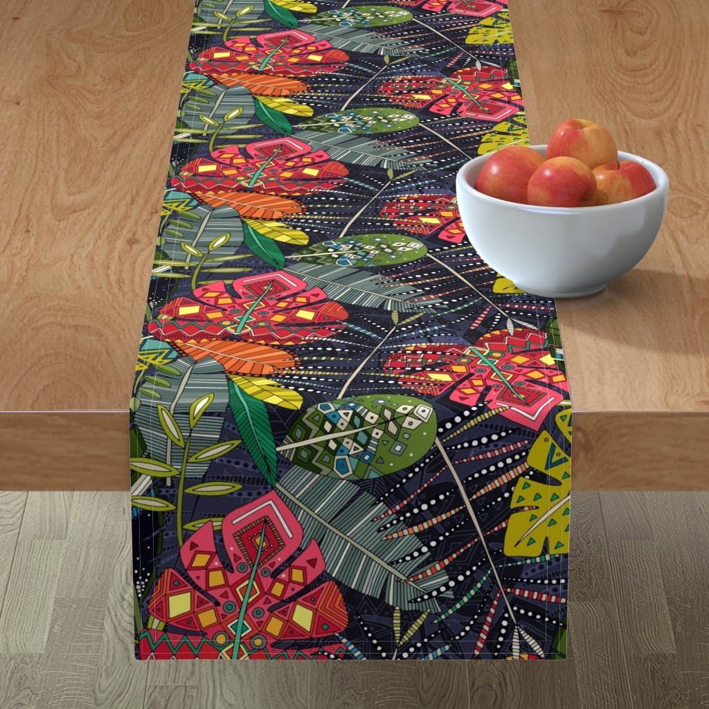 Minorca Table Runner featuring boho hojas midnight by scrummy
