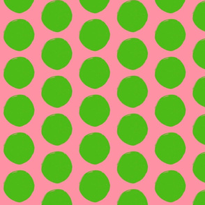 Green with Pink Dots Fabric