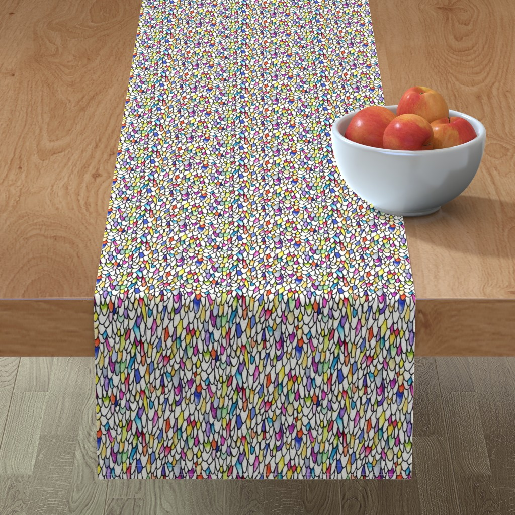 Minorca Table Runner featuring Gursdee-esque - Feathers and Scales - Rainbow - Large by autumn_musick