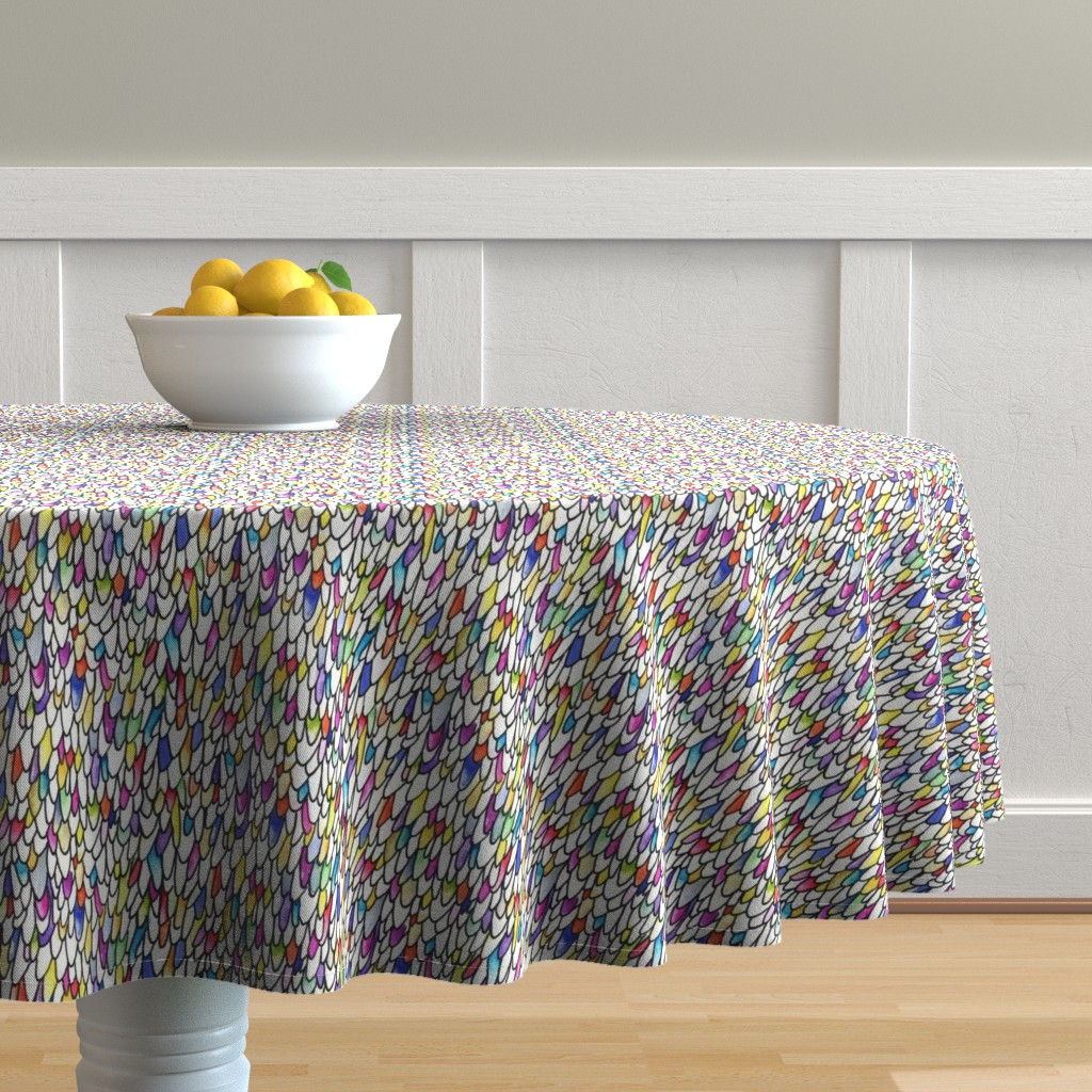 Malay Round Tablecloth featuring Gursdee-esque - Feathers and Scales - Rainbow - Large by autumn_musick