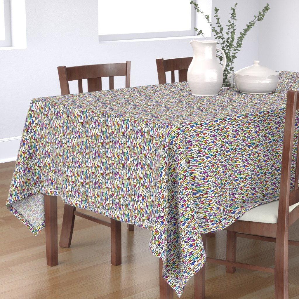 Bantam Rectangular Tablecloth featuring Gursdee-esque - Feathers and Scales - Rainbow - Large by autumn_musick
