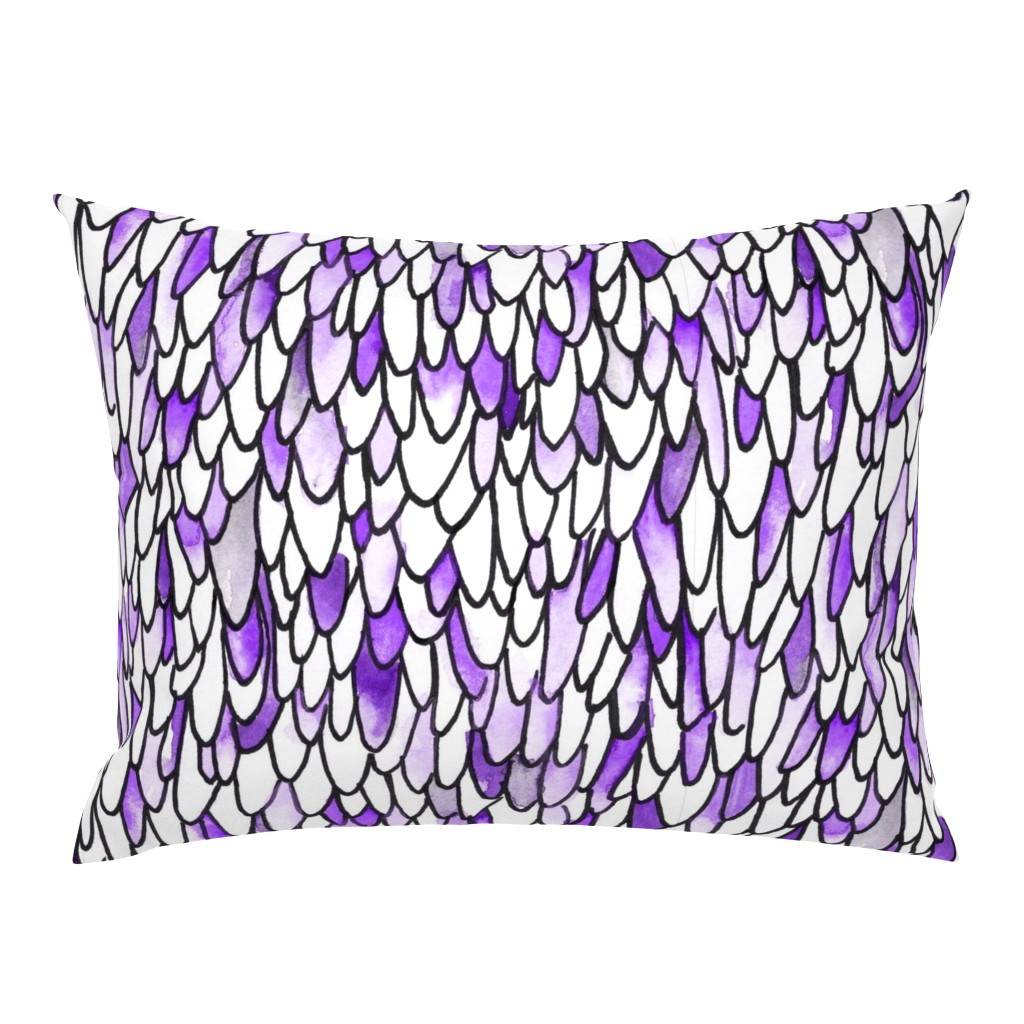 Campine Pillow Sham featuring Feathers and Scales - Purple - Large by autumn_musick